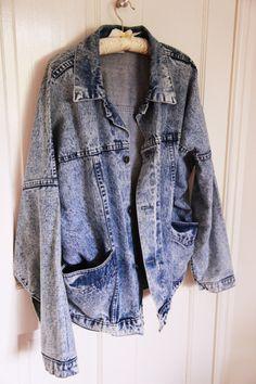 oversized acid wash denim jacket