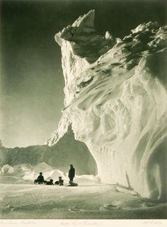 This photo was shot near the edge of the Barne Glacier, which comes to an end near Cape Evans and the site of Scott's hut. Scott's team did use some dogs to pull sledges toward the interior of the continent, but Amundsen made far greater use of the furry beasts, and to much greater advantage. Estimate: $3,000 - $5,000    Minimum Bid: $2,300