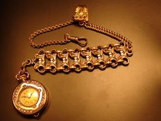 Beautiful victorian 10K Gold filled pocket watch chain working Watch fob 10 inch