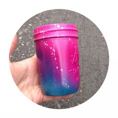 Neon Galaxy Pink and Turquoise Ombre Mini Mason Jar by LimbTrim