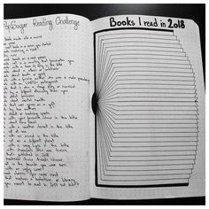 "Bullet journal ""Books In Read in 2018"" layout, book tracker, open book drawing. 