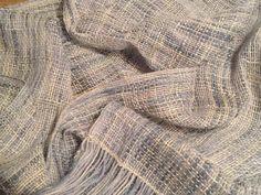 4ply Merino Tencel Perran Yarn in shade Soft Denim beautifully woven on a heddle loom by Carolyn Zajciw - stunning!