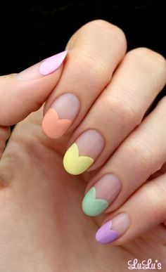Do you want to use any Easter nail designs to celebrate the holiday? We have collected dozens of simple Easter nail designs, they are very easy to complete, let's take a look . Heart Nail Designs, Easter Nail Designs, Easter Nail Art, French Nail Designs, Nail Art Designs, Cute Nails, Pretty Nails, My Nails, Heart Tip Nails