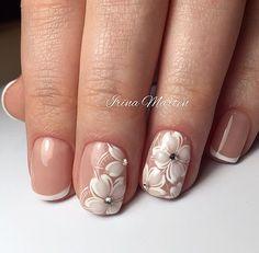 Hot Trendy Nail Art Designs that You Will Love French Nails, Hot Nails, Hair And Nails, Bridal Nail Art, Wedding Manicure, Floral Nail Art, Trendy Nail Art, Nagel Gel, Flower Nails