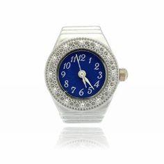 Finger Ring Ring Watch Bezel Quartz Arabic Numeral Silver blue NEW L4F6 4894462230206 | eBay