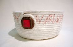 Peppermint Twist Coiled Fabric Bowl by zizzybob on Etsy