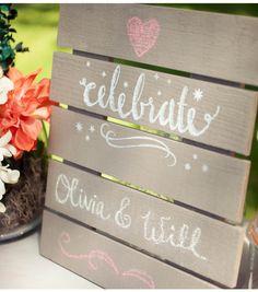 DIY Wedding Mini Chalkboard Pallet  #DIY outdoor wedding decor inspiration #marthastewartcrafts