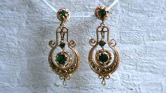 Victorian 14K Yellow Gold and Emerald Chandelier Earrings. by GoldAdore on Etsy https://www.etsy.com/listing/183934668/victorian-14k-yellow-gold-and-emerald