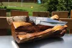 """Mammoth Ivory 10"""" Knife, Mirror Polished with Custom Hand File Work, Signature Series Etched Bolsters, Zippered Case. via Etsy."""