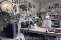 "Where Bloggers Create 2012, Tour of  ""My Desert Cottage"" studio...vintage chic!"