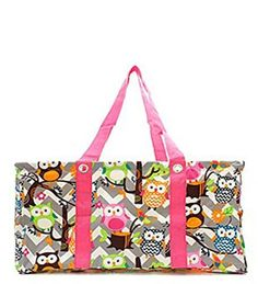 Owl Print Grey Chevron Pink Trim Utility Tote - Handbags, Bling & More!