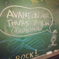 we're on the chalkboard, so it must be official. #AvantOnAir #gso Tune in Thurs 7-9pm @WUAG 103.1FM wuag.net