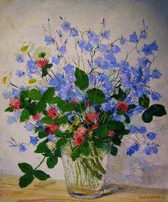 Olle Hjortzberg (1872-1959), Sweden.  Still life with flowers oil on canvas