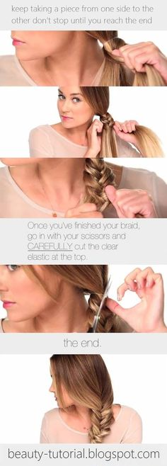 Side Fishtail braid tutorial. Easy and cute!