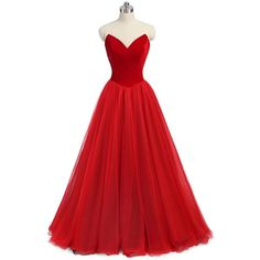 Women's Strapless Long Prom Dresses Back Lace Up Sleeveless Cocktail... ❤ liked on Polyvore featuring dresses, long red dress, red cocktail dress, evening cocktail dresses, long evening dresses and cocktail prom dress