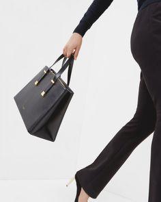 5fdf9e038103 Crosshatch leather tote bag - Black