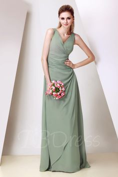 TBDress - TBDress Ruched A-Line V-Neck Long Bridesmaid Dress - AdoreWe.com