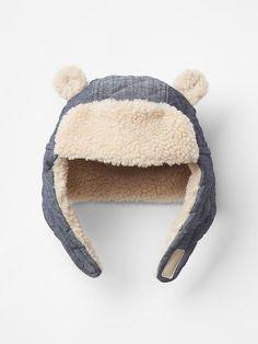 Cozy chambray bear trapper hat