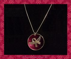 Awareness Ribbon Angel Pendant Necklace