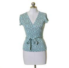 Banana Republic White Mint & Gray Print Stretch Knit Silk Blend Wrap Top Size M #BananaRepublic #Wrap #Casual