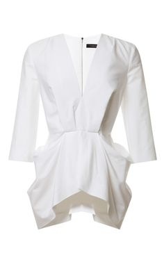 V-Neck Gathered Waist Top by Thakoon Now Available on Moda Operandi