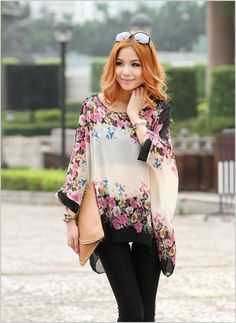 Wholesale Bohemian Style Women Oversized Dolman Sleeve Floral Chiffon Tops Blouse Only $6.02 Drop Shipping | TrendsGal.com