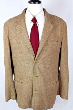 TERRITORY AHEAD Blazer Mens L Brown SILK Single Vent Sport Coat Jacket 44 #TerritoryAhead #ThreeButton