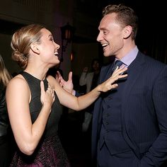 Photographic Proof that TIFF Is All About the Glitz and Glamour | BRIE LARSON & TOM HIDDLESTON | While attending the Foreign Press Association and InStyle's annual celebratory bash at TIFF on Sept. 12, the actors are caught in a candid moment.