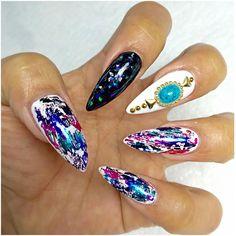 Love the multicolour foil / white nails