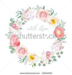 Spring peony, rose, ranunculus, orchid, carnation, eucalyptus leaves round vector design floral frame. Cute wedding flowers.  All elements are isolated and editable