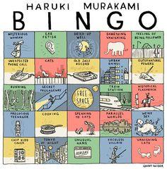 All writings Murakami - Haruki Murakami bingo Haruki Murakami Books, Kafka On The Shore, 1q84, Bingo Cards, Task Cards, Book Worms, Book Lovers, Nerdy, Book Art