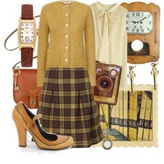 A fashion look from April 2016 featuring Orla Kiely, shirt top and pleated skirt. Browse and shop related looks. Cute Christmas Outfits, Cute Outfits, Simple Outfits, Librarian Style, Librarian Tattoo, Librarian Costume, Sexy Librarian, Teacher Librarian, Vintage Outfits