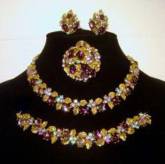 Vintage Amethyst Glass Cabochon Rhinestone Necklace Bracelet Brooch Earrings Signed Art
