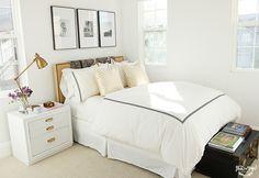 bedroom - white, black & gold