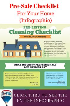 http://blog.winnipeghomefinder.com/home-pre-sale-cleaning-checklist/ Before buyers come to see your home, make sure it shows it's best.  Helpful infographic with a pre-sale checklist for cleaning your home