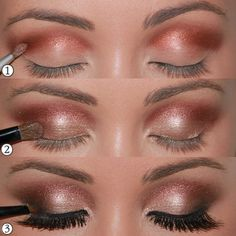 1 - Start the dished scoring well with the tone brown 2 - Applied across the mobile lid golden shadow and smoky 3 - End with eyeliner, false eyelashes and mascara, all ready =)by: Ana.