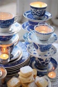 L.O.V.E. mis-matched blue & white dishes ~Susan @ www.mariposadesign.ca