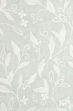 Leaf Trail Linen Fabric Duck Egg linen fabric with white embroidered floral design. Suitable for Curtains and Domestic Upholstery.