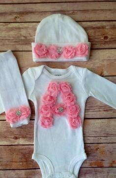 Monogrammed Newborn Outfit, Baby Girl Take Home Outfit, Newborn Photo Prop, Baby Beanie, Newborn girl hospital outfit, Baby girl