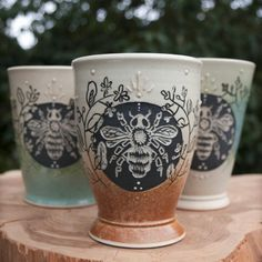 Ceramicist/Potter/Mud Lover in Springfield, MO by HandToEarthCeramics Browse unique items from HandToEarthCeramics on Etsy, a global marketplace of handmade, vintage and creative goods. Pottery Mugs, Ceramic Pottery, Pottery Art, Ceramic Art, Ceramic Cups, The Potter's Wheel, Sgraffito, Bees Knees, Cute Mugs