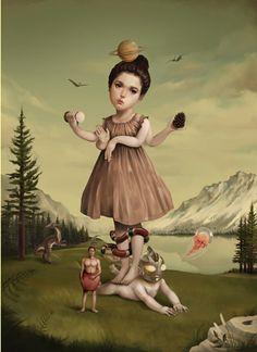 Roby Dwi Antono, 'Sense of Aurora', 2013 Source by alessiaagache Creepy Art, Weird Art, Arte Lowbrow, Surealism Art, Surrealism Painting, Arte Horror, Dark Fantasy Art, Fantastic Art, Psychedelic Art