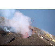 Strombolian eruption of Stromboli volcano Aeolian Islands Mediterranian Sea Italy Canvas Art - Richard RoscoeStocktrek Images (35 x 23)