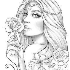 Adult coloring page - Fantasy floral girl portrait - barbie coloring pages People Coloring Pages, Barbie Coloring Pages, Fairy Coloring Pages, Free Adult Coloring Pages, Coloring Pages For Girls, Coloring Pages To Print, Printable Coloring Pages, Coloring Books, Tumblr Coloring Pages