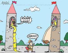 Rapunzel ve Rakibi Karikatürü - Ayrıkan Karikatürleri