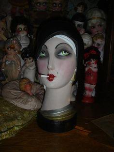 Art Deco Smoking Flapper Mannequin Bust Head by flapperdashery, $245.00