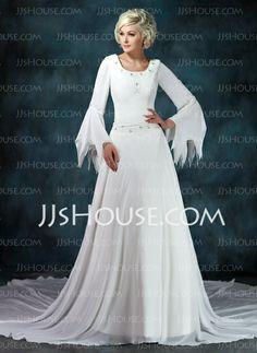 Wedding Dresses - $142.99 - A-Line/Princess Scoop Neck Chapel Train Chiffon Wedding Dress With Ruffle Beadwork (002012145) http://jjshouse.com/A-Line-Princess-Scoop-Neck-Chapel-Train-Chiffon-Wedding-Dress-With-Ruffle-Beadwork-002012145-g12145