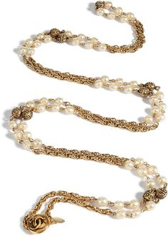 Antique Jewelry Product | Chanel Vintage Jewelry Golden Pearl Ball Long Necklace in (pearl ...