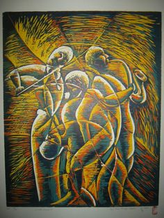 Musicians  Original art  Reductive Woodcut  by mapietreasures, $340.00