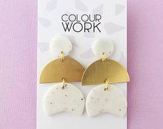 Three Tiered Drop Earrings in Granite White & Brass