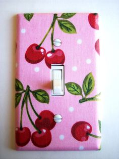 Pink Cherry Single Toggle Switchplate by PopGoesTheColor on Etsy